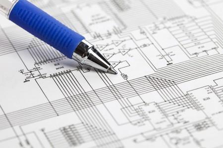 strom: Eine elektronische schematische Darstellung. Ideale Technologie Hintergrund.