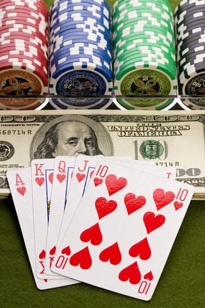 Poker cards and chips photo