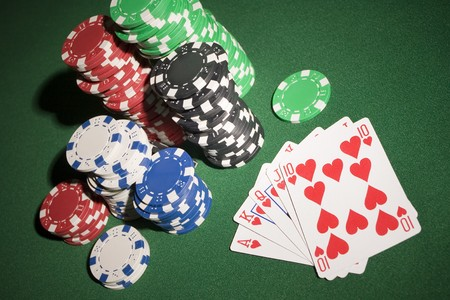 Cards and poker chips
