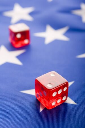 Casino dice on flag photo