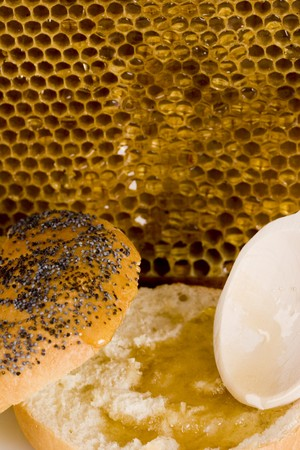 Beautiful yellow patch of healthy and tasty honey Stock Photo - 8044135