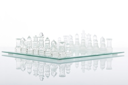 Beautiful glass chess on a white background.