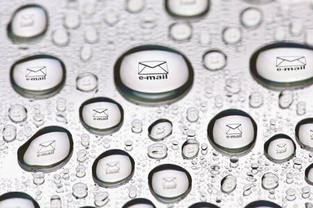 The stamp envelopes placed inside a water droplet photo