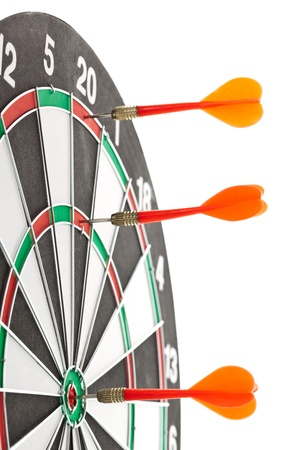 Red darts hitting the target for the shield