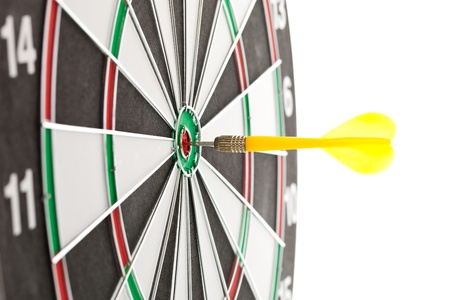Yellow darts hitting the target for the shield photo