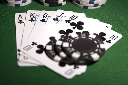 Poker cards and gambling chips photo