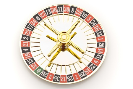 Beautiful gold roulette on a white background.