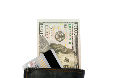 banking: mens wallet with dollars and credit card. isolated white backgound Stock Photo