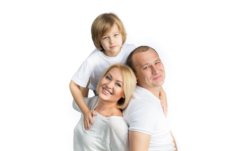 young  family: happy family with child on white background