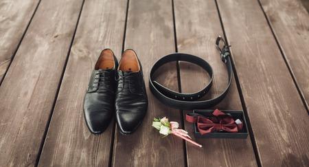 dress code: Mens black leather dress shoes. wedding concept