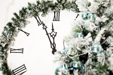 past midnight: New Years at midnight. Old clock