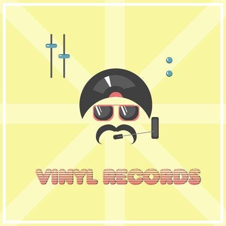 vinyl records with disko man vector illustration Ilustrace