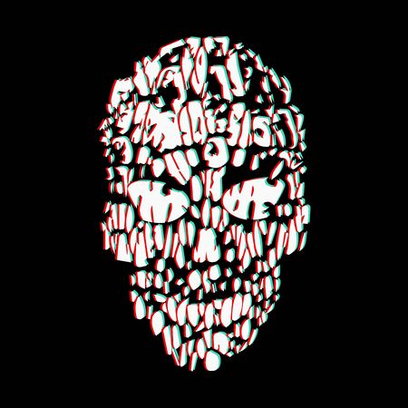 Skull illustration in the glitch style