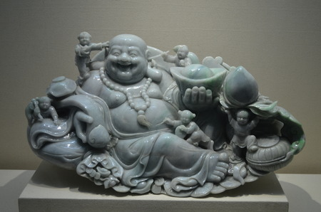jade: Green jade smile buddha