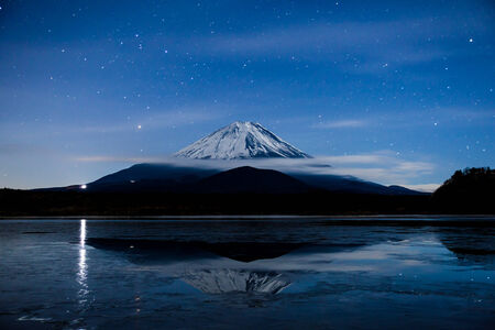 the silence of the world: Inverted image of Mt Fuji on the frozen lake