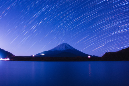 Mount Fuji and star trails at winter photo