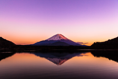 Inverted image of Mt Fuji - silent early morning