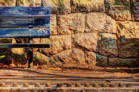 Bench, park and mud dumpling Stock Photo