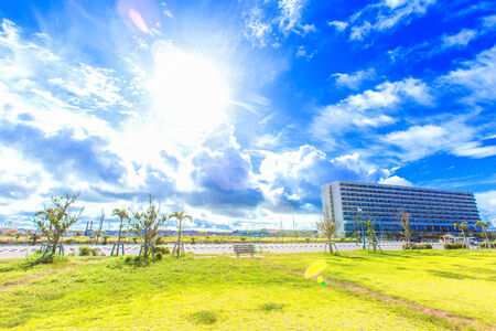 Tropical resort and blue sky of Okinawa