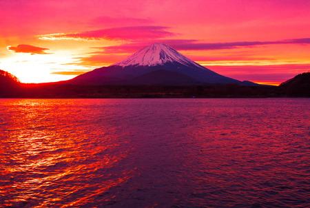 Mount Fuji and  Lake Shojiko at sunrise