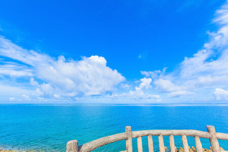 View of the sea and sky from the observatory of Okinawa photo
