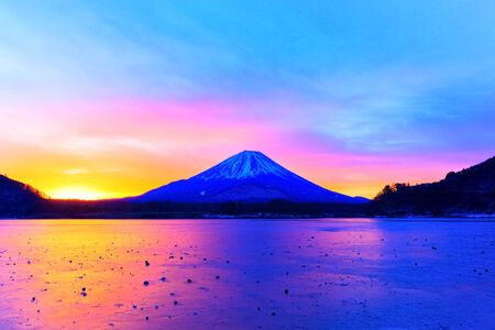 Mount Fuji and  Lake Shojiko at sunrise photo