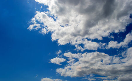 brighter: Blue sky and white clouds in Summer Stock Photo