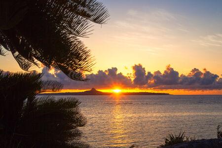 Sunset over the island, Okinawa 免版税图像 - 31652259