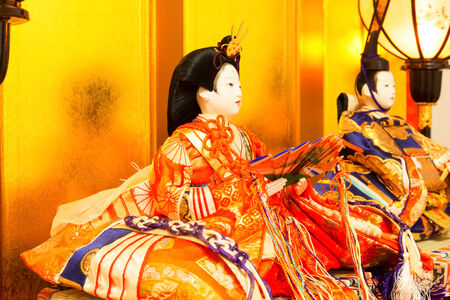 Hina Dolls at the Girls' Festival, peach festival, in Japan photo