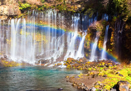 Shiraito no Taki waterfall and rainbow