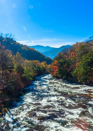 Yukawa river under the autumn sky
