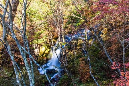 Ryuzu no taki waterfall in autumn