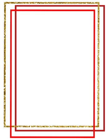 vintage photo frame with gold and red lines