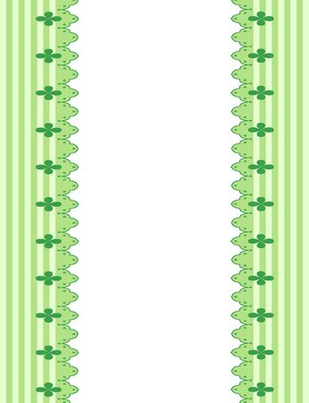frame of lace on green background with striped lines