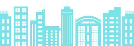 Urban Town Wallpaper Blue Pattern Material