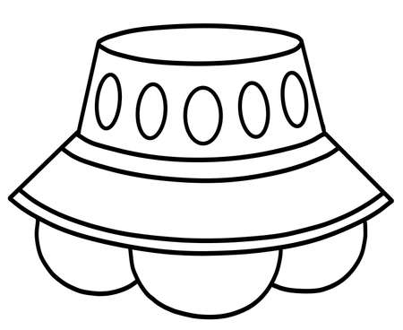UFO alien spaceship unidentified flying object line drawing