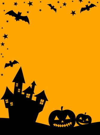 Background Halloween Pumpkin Bats Castle