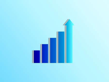 Gradation blue stair step to growth success, 3d render, progress way and forward achievement creative concept