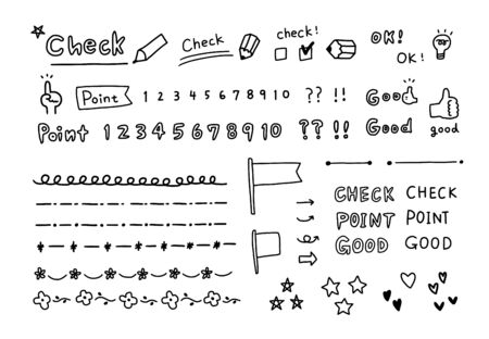 Controllo e punti dell'illustrazione scritta a mano