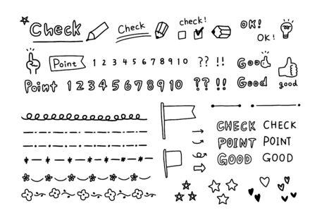 Handgeschreven illustratiecontrole en punten