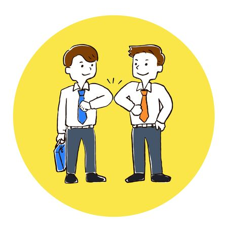 Illustration of a person greeting with elbows together