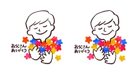 Illustration of a man hugging a lot of flowers
