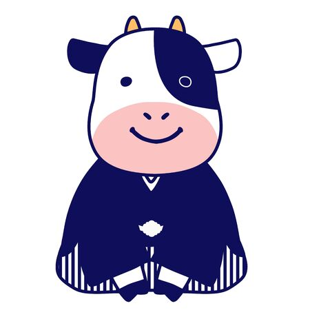 Illustration of a cow in a hakama greeting Vektorové ilustrace