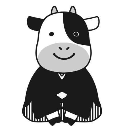 Illustration of a cow in a hakama greeting