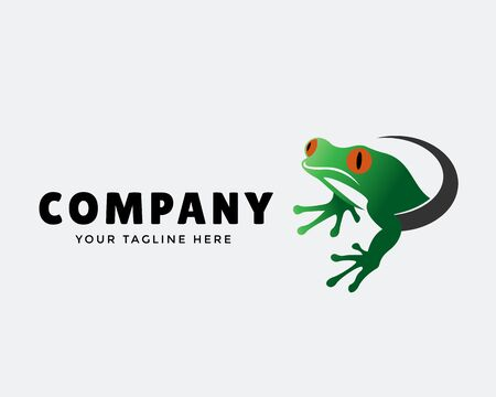 frog come out from hole art logo design inspiration
