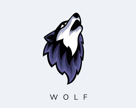 Wolf open mouth loosened art front view e-sport logo design inspiration