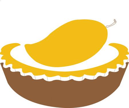 blueberry pie: Mango pie icon Illustration