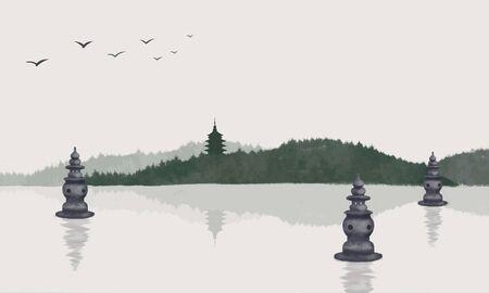 Hangzhou West Lake Illustrator