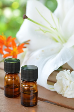 essential oils with flowers Stock Photo