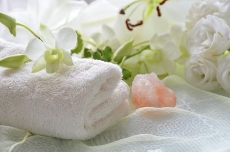 bath time with flowers Stock Photo